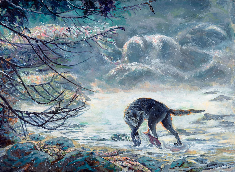 Wolf Fishing Great Bear Rainforest